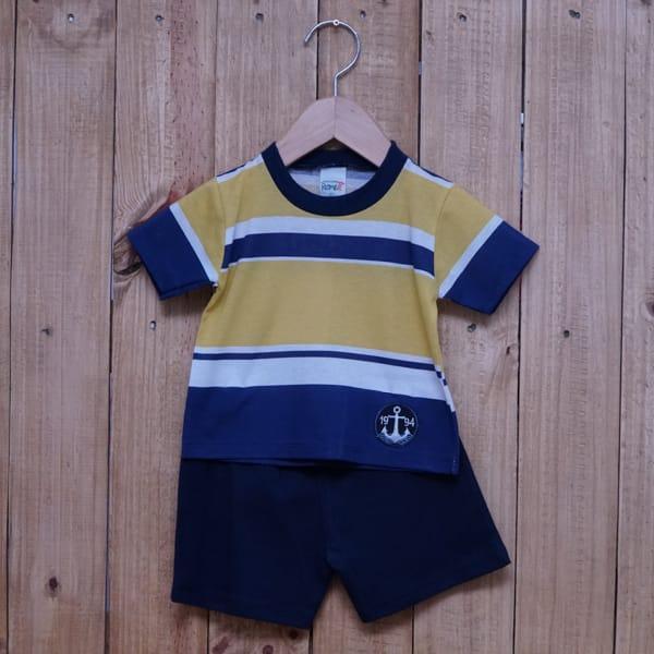 Conjunto para Bebê Bordado Âncora Listrado Amarelo Azul Marinho é Branco