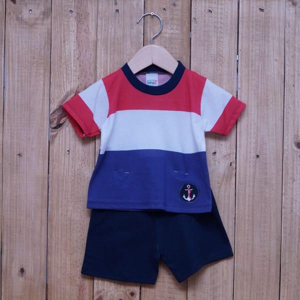 Conjunto para Bebê Bordado Âncora Listrado Vermelho Azul Marinho é Branco