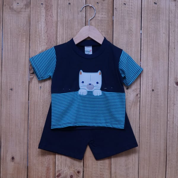 Conjunto para Bebê Bordado e Listrado Azul Marinho com Tiffany
