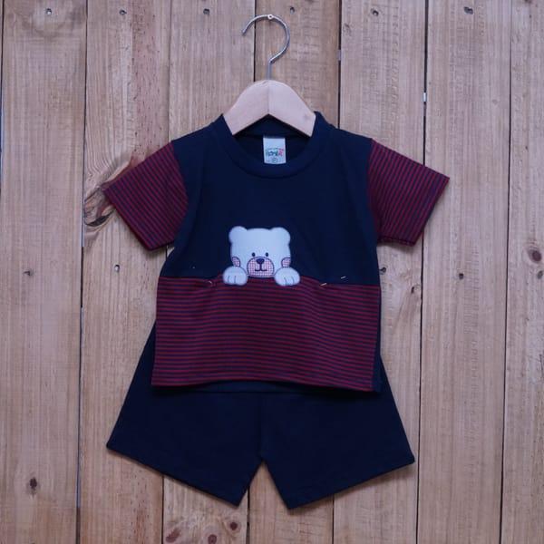 Conjunto para Bebê Bordado e Listrado Azul Marinho com Vermelho