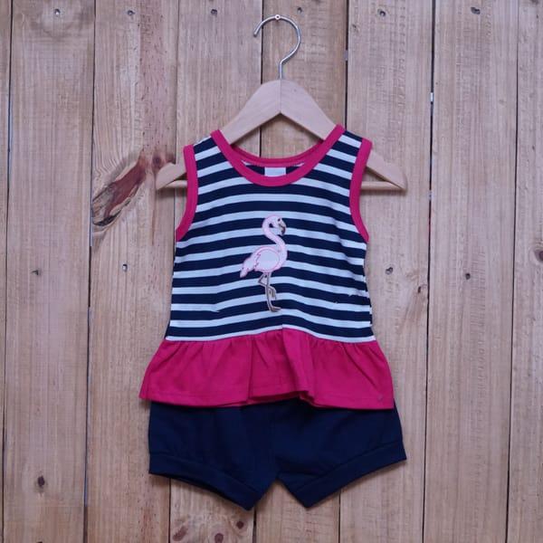 Conjunto para Bebê Bordado Flamingo é Listrado Azul Marinho com Pink