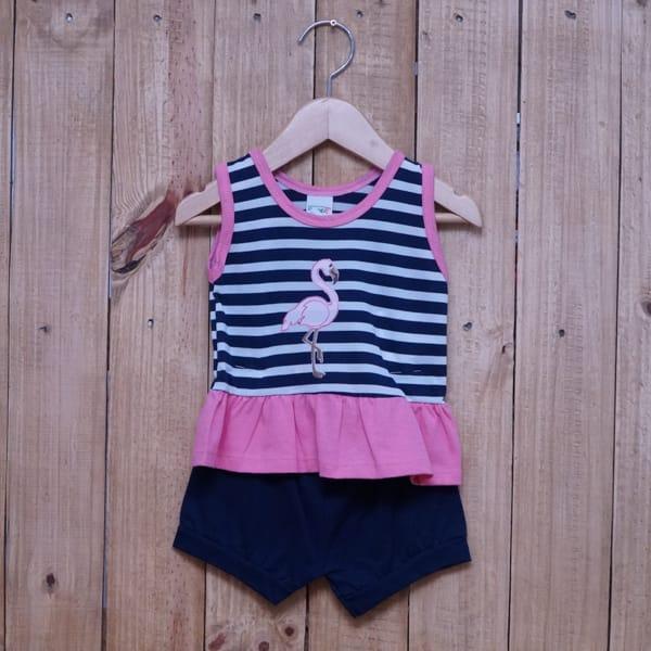 Conjunto para Bebê Bordado Flamingo é Listrado Azul Marinho com Rosa Claro