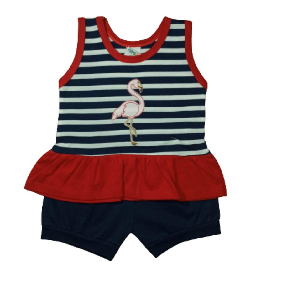 Conjunto para Bebê Bordado Flamingo é Listrado Azul Marinho com Vermelho