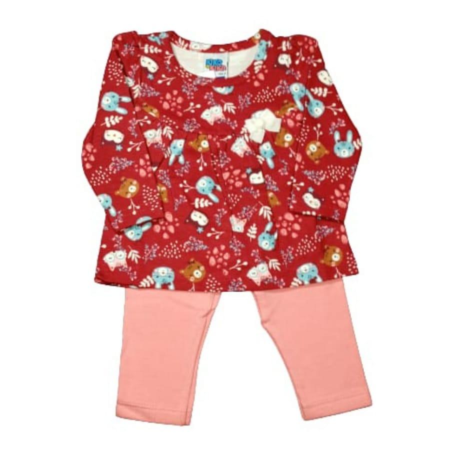Conjunto para Bebê Camiseta Manga Longa Estampada com Legging