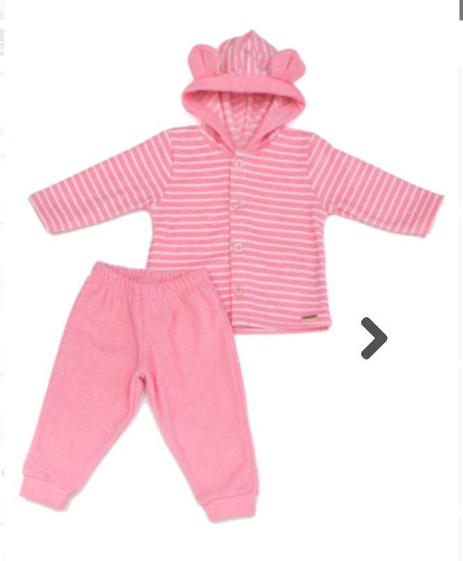 Conjunto  para Bebê com Capuz Rosa Listrado