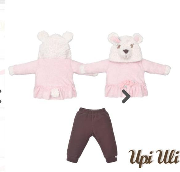 Conjunto  para Bebê com Capuz Ursa Rosa