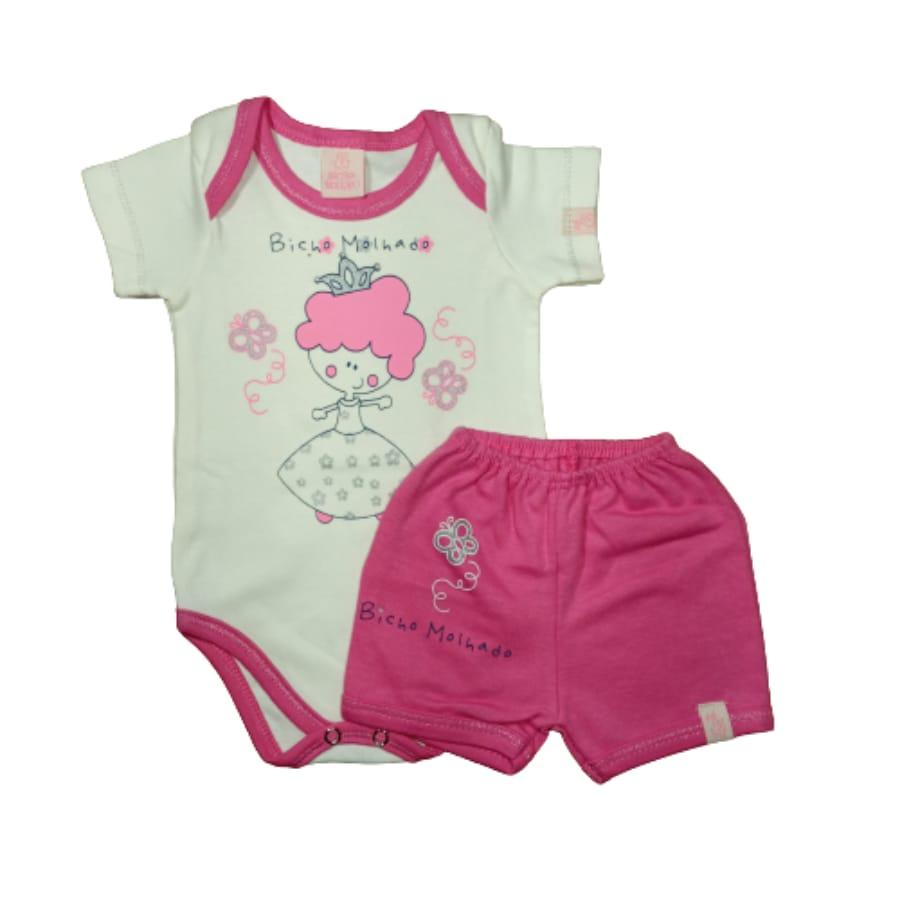 Conjunto para Bebê de Body e Short Princesa