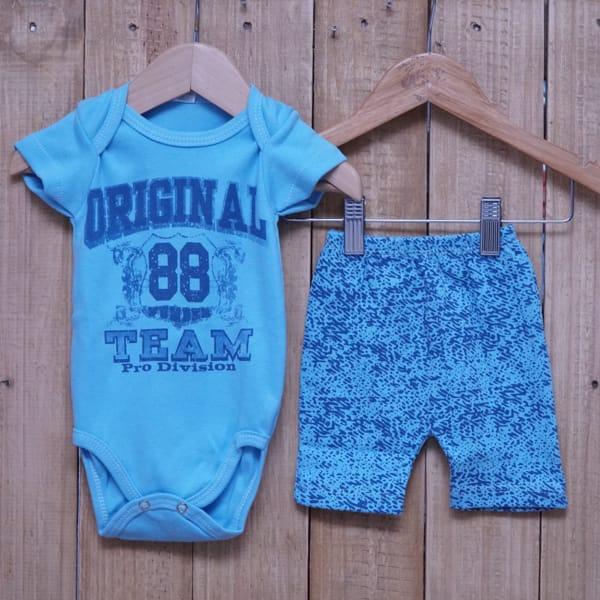 Conjunto para Bebê de Body Silk e Short Estampado Azul Claro