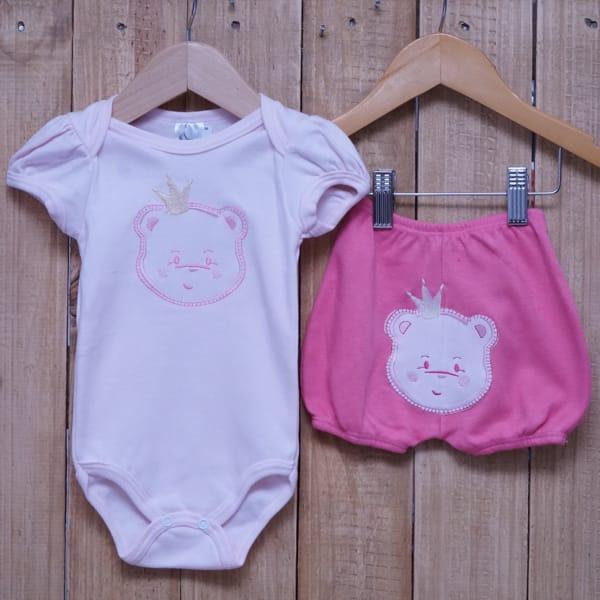 Conjunto para Bebê de Body Ursa e Short com Bordado Rosa
