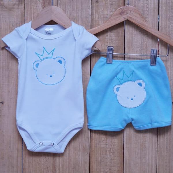 Conjunto para Bebê de Body Urso e Short com Bordado Branco e Azul Claro