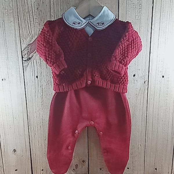 Conjunto para Bebê em Tricot com Gola Bordada Vermelho