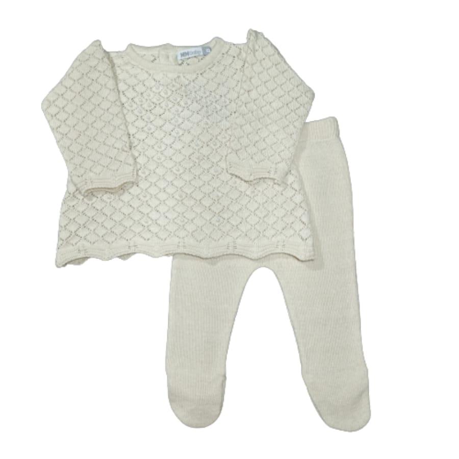 Mini Vest para Bebê em Tricot com Meia Calça é Pérola Bege
