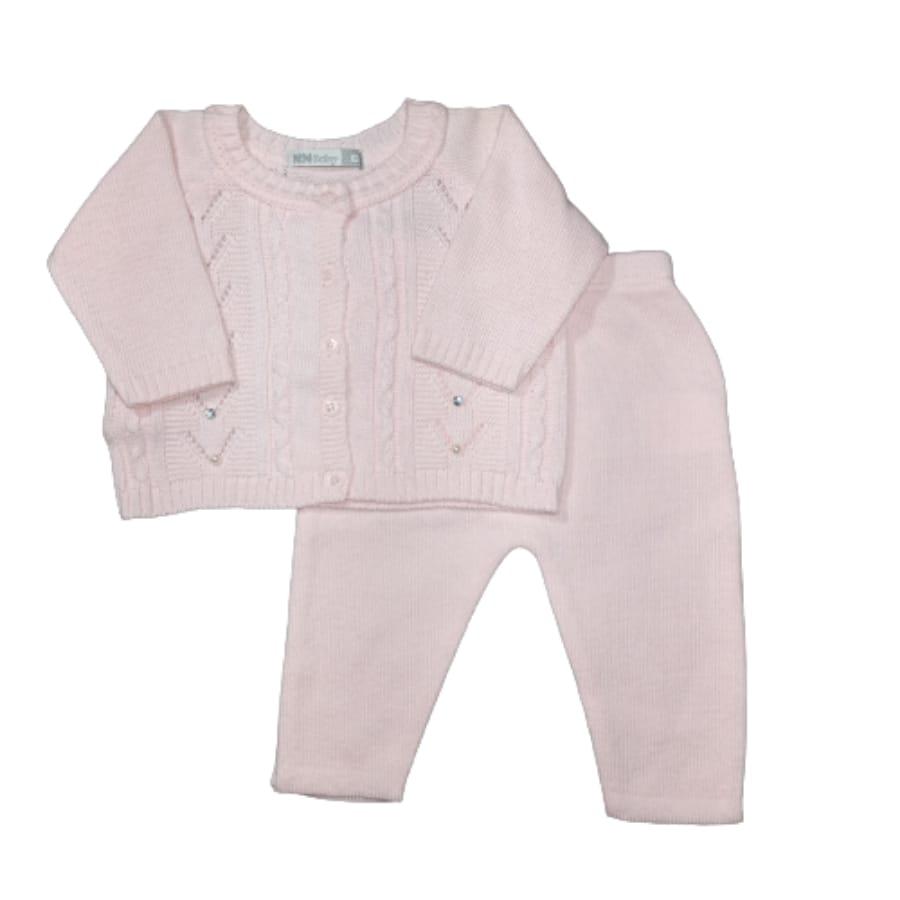 Conjunto para Bebê em Tricot Detalhes Trança é Pérola