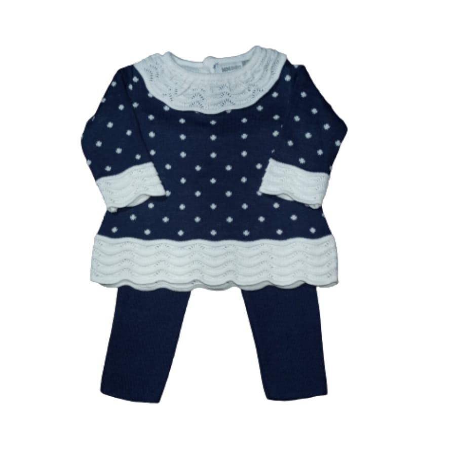 Conjunto para Bebê em Tricot  Jacard Poá