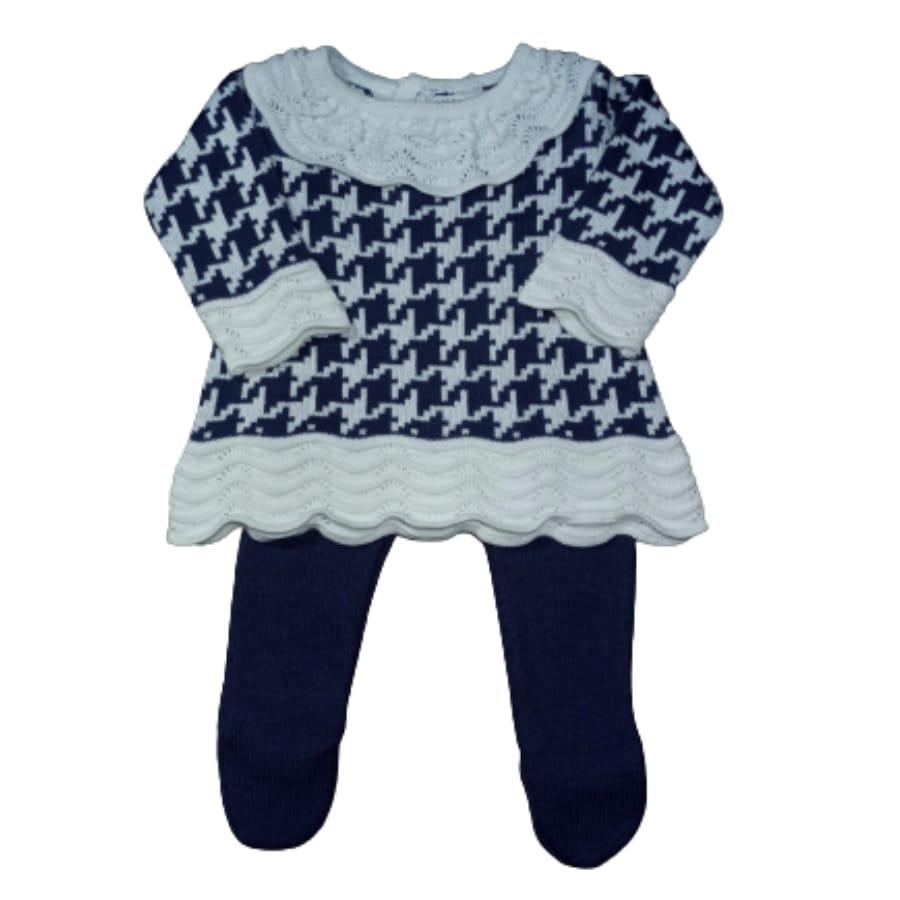 Mini Vest  para Bebê com Meia Calça em Tricot Pied Pule Azul Marinho