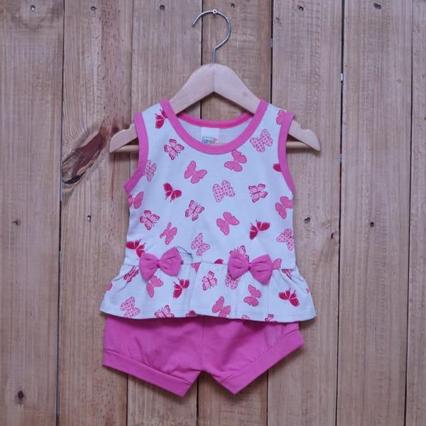 Conjunto para Bebê Estampado Borboletas com Laços Rosa