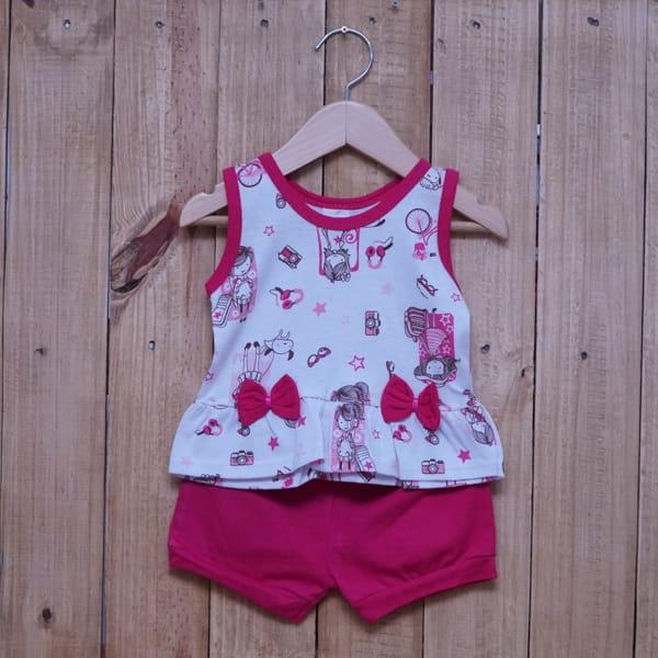 Conjunto para Bebê Estampado com Laços Pink