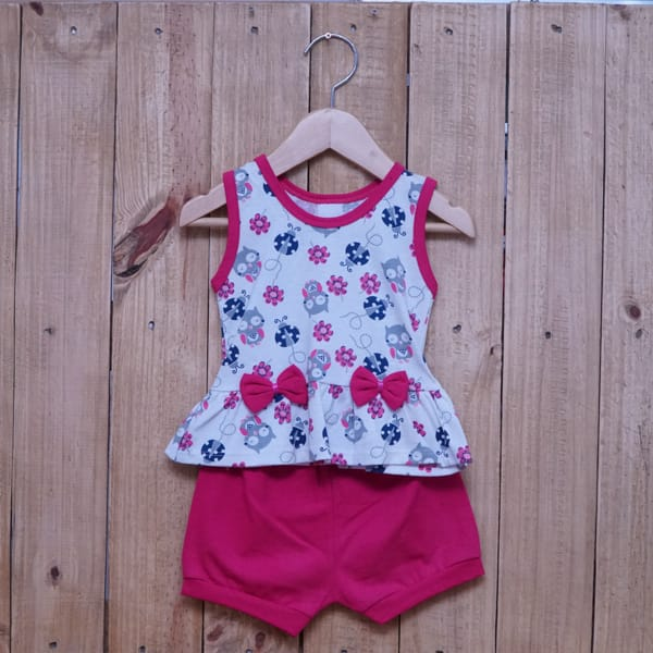 Conjunto para Bebê Estampado Corujinha com Laços Pink