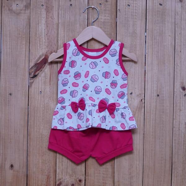 Conjunto para Bebê Estampado Cupcake com Laços Pink