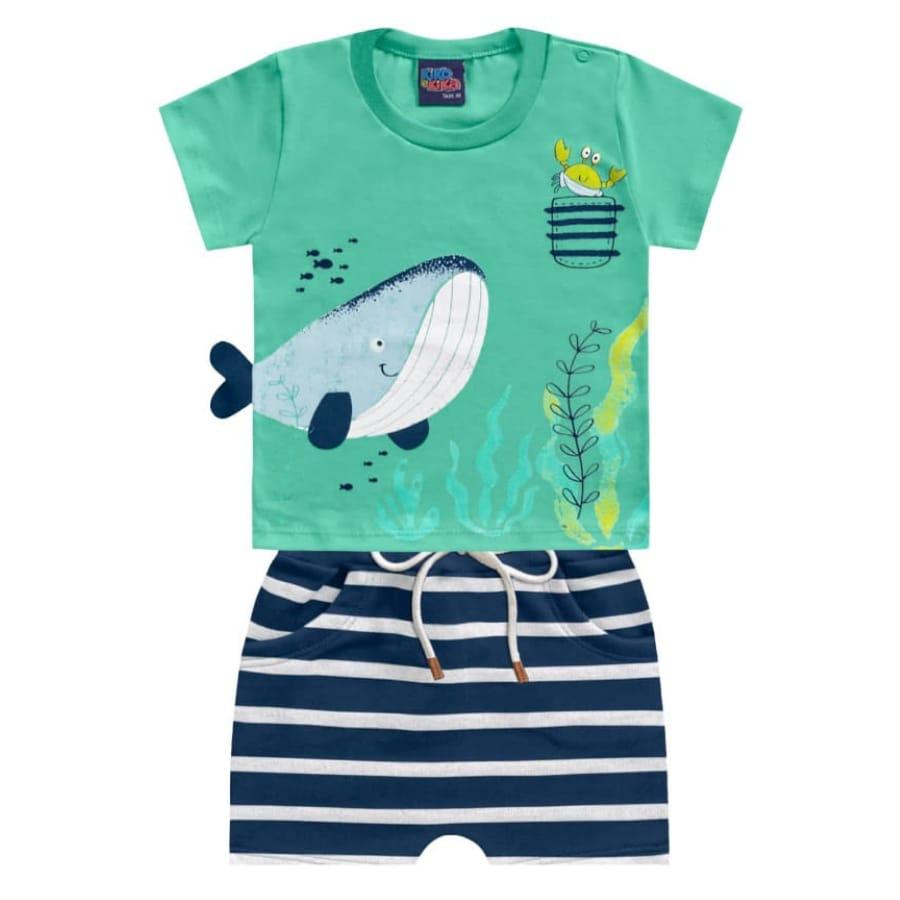 Conjunto para Bebê Estampado Fundo do Mar