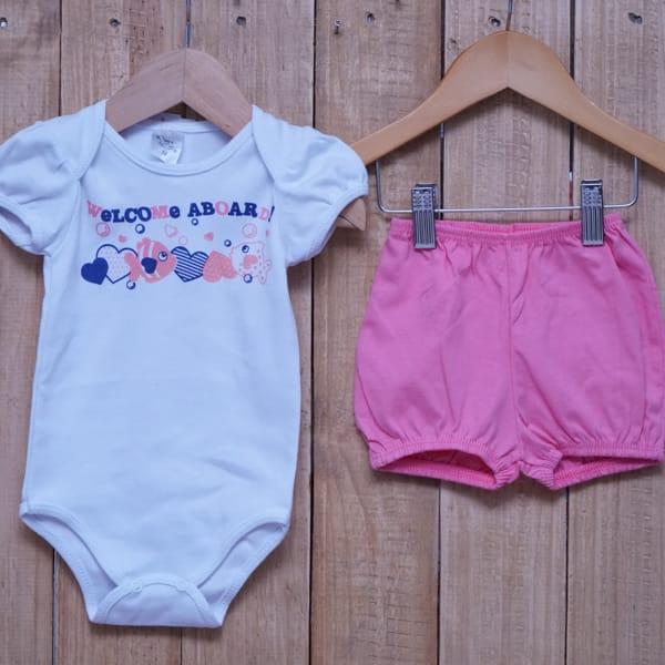 Conjunto para Bebê Estampado Peixinhos Branco com Rosa