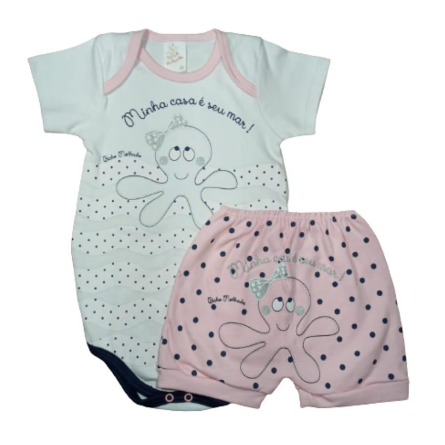 Conjunto para Bebê Estampado Polvo com Lacinho