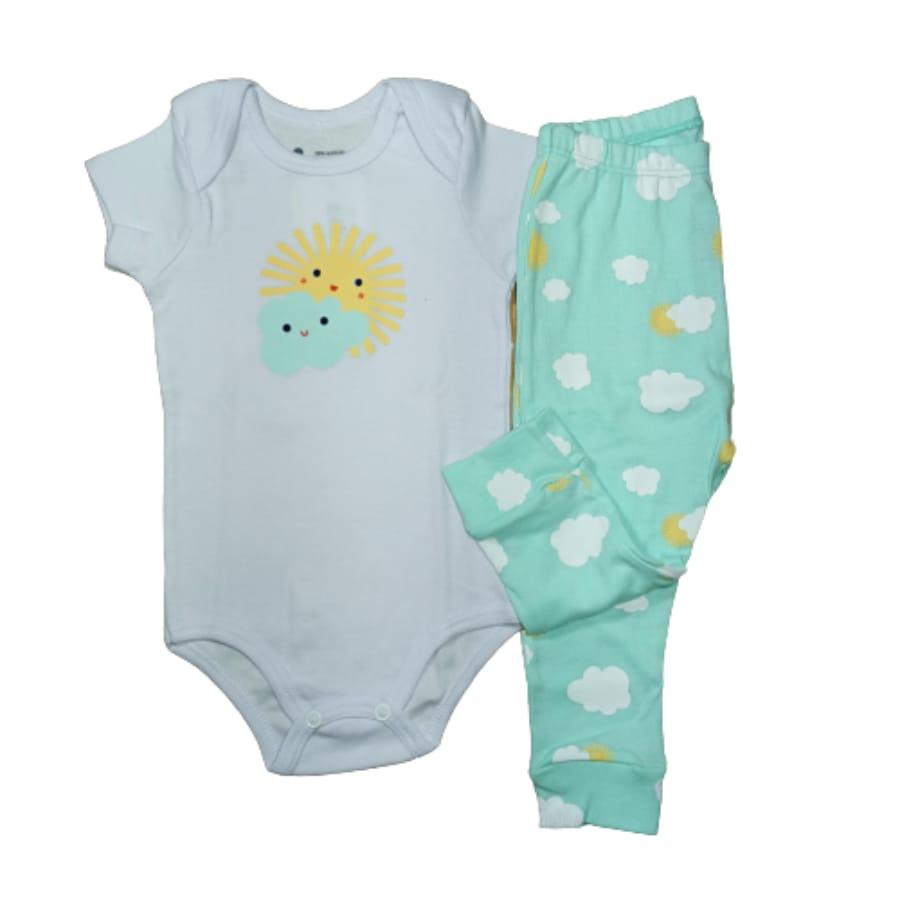 Conjunto para Bebê Estampado Sol e Nuvem