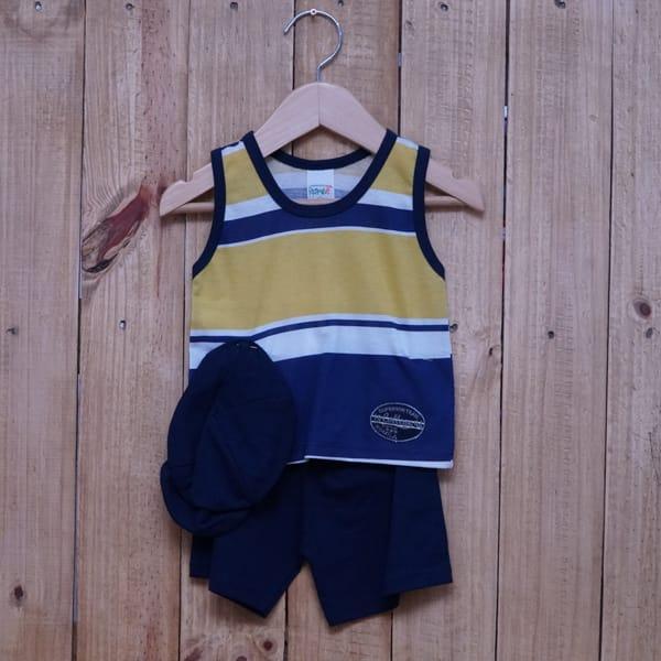 Conjunto para Bebê Regata Bordado Listrado Amarelo Azul Marinho e Branco