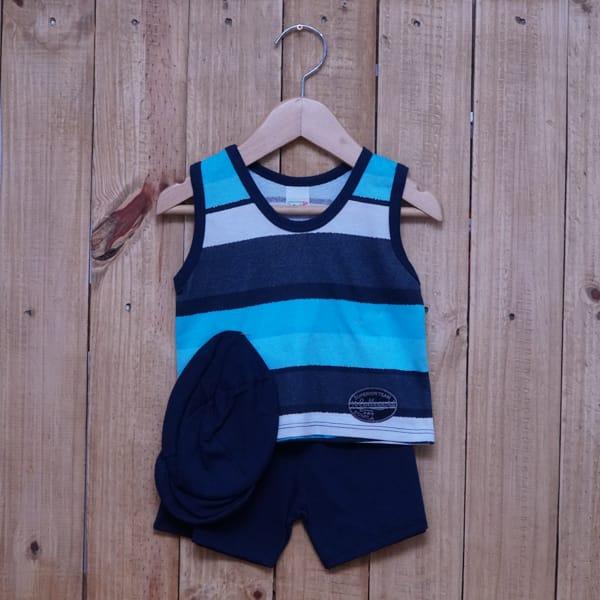 Conjunto para Bebê Regata Bordado Listrado Branco Azul Marinho e Tiffany