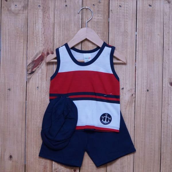 Conjunto para Bebê Regata Bordado Âncora Listrado Vermelho Azul Marinho e Branco