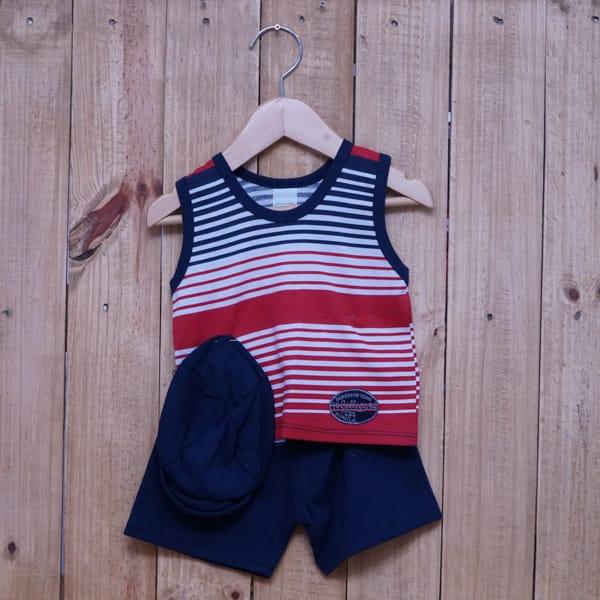 Conjunto para Bebê Regata Bordado Listras Finas Azul Marinho Vermelho e Branco