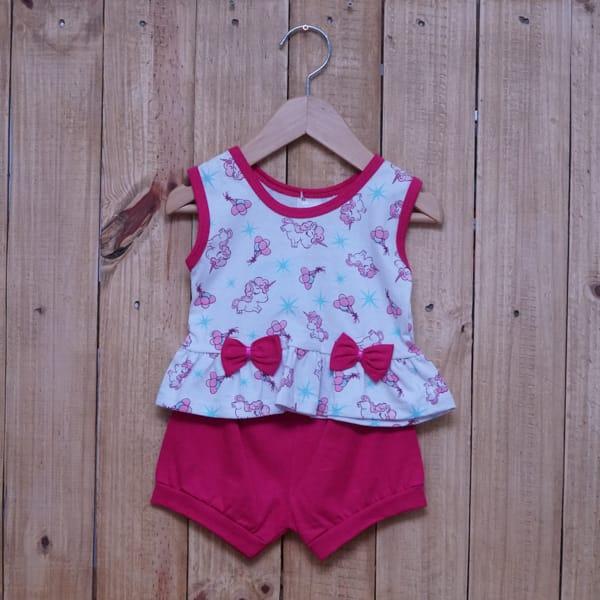 Conjunto para Bebê Regata Estampado Unicórnio Branco com Pink