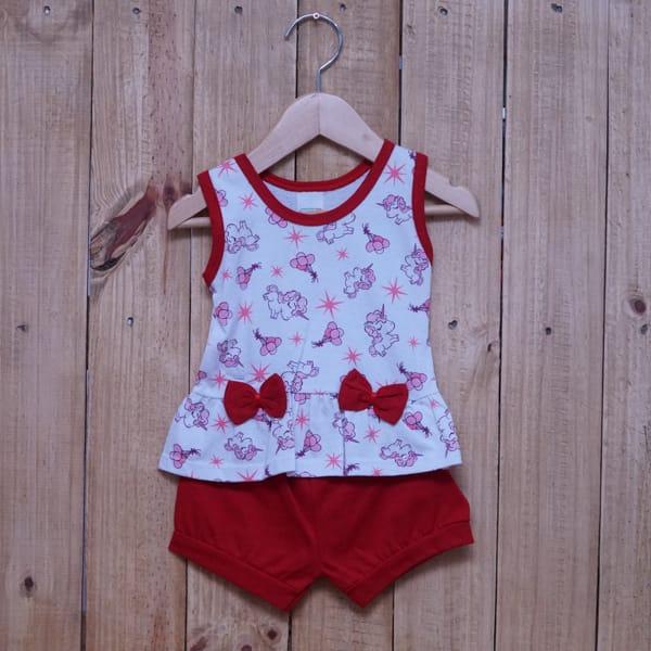 Conjunto para Bebê Regata Estampado Unicórnio Branco com Vermelho