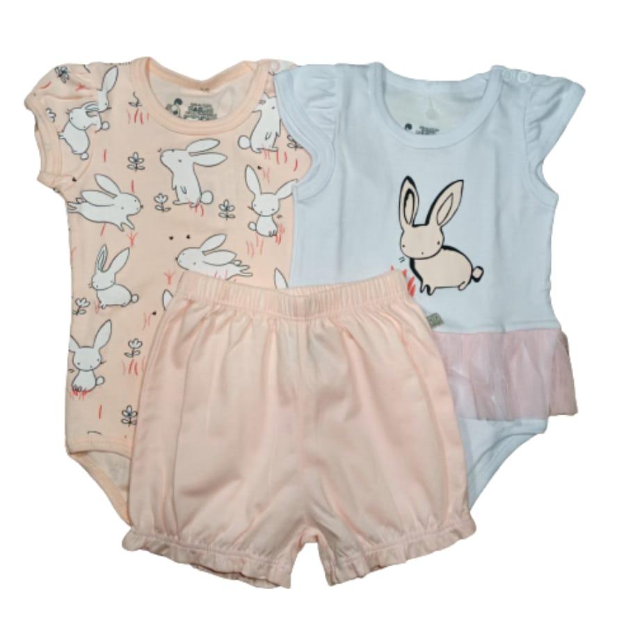 Conjunto para Bebê Três Peças Estampado Coelho