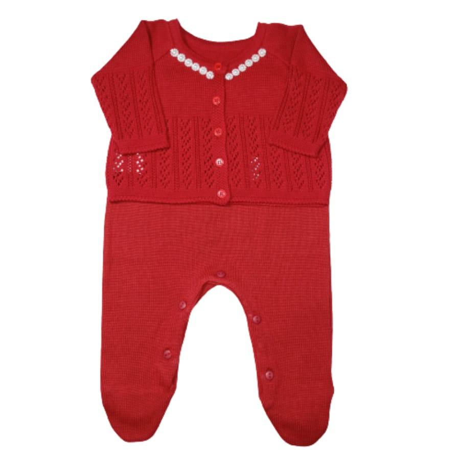 Conjunto para Bebê Tricot com Detalhes no Casaco