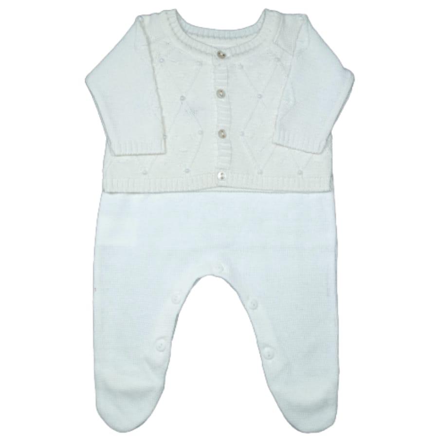 Conjunto para Bebê Tricot com Pérolas no Casaco