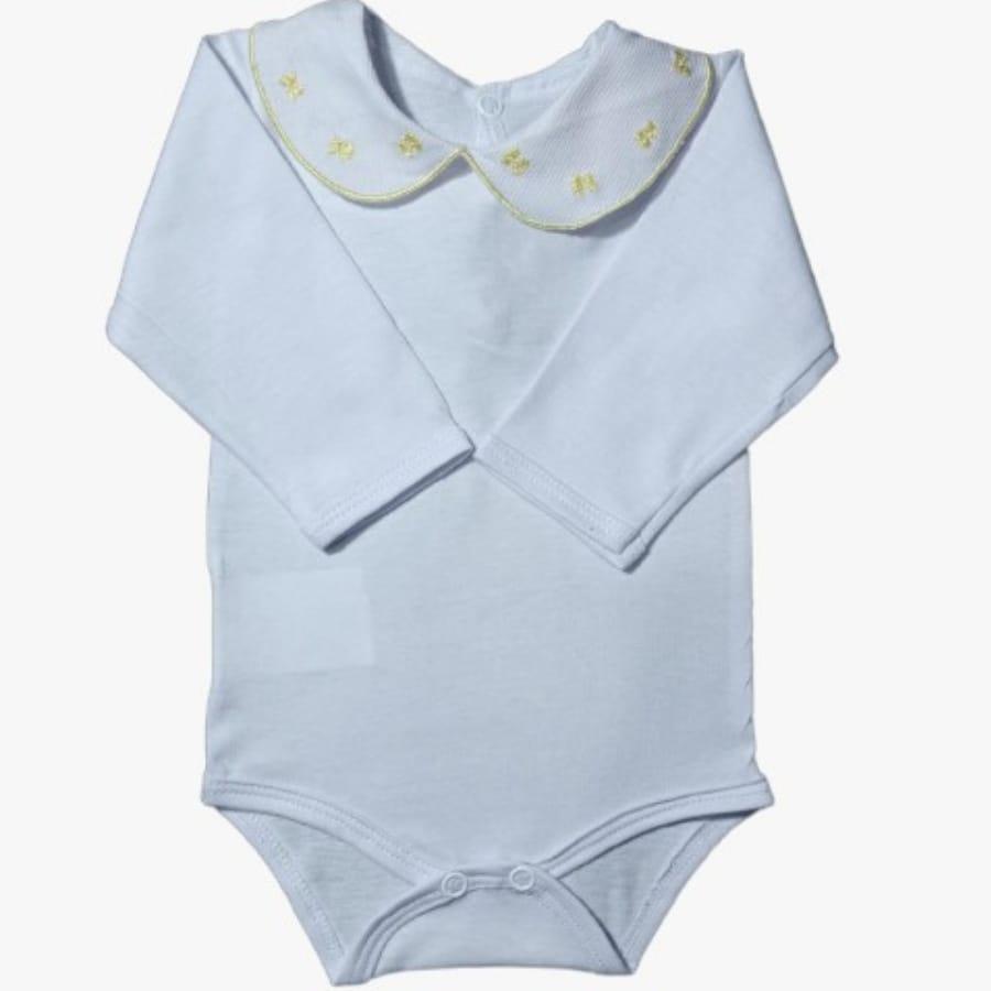 Body para Bebê Gola Bordada Laço Amarelo