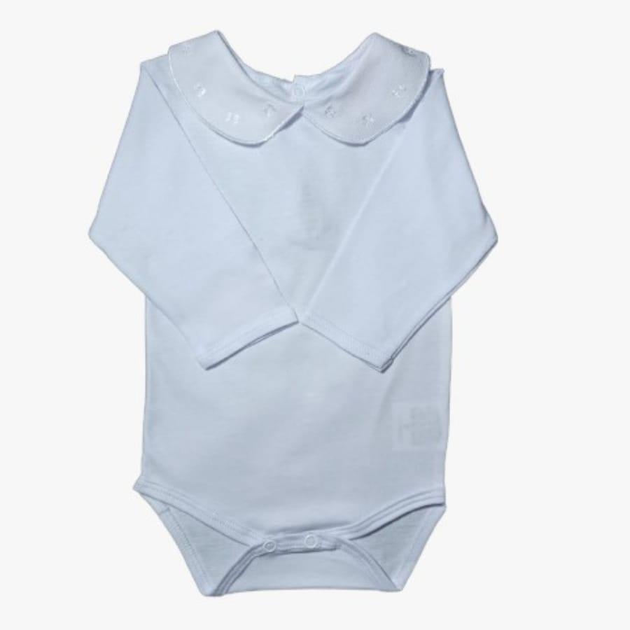 Body para Bebê Gola Bordada Laço Branco