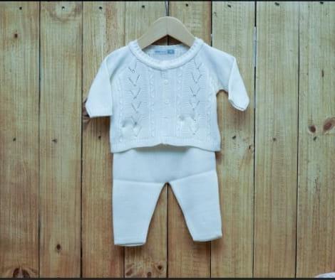 Conjnto para Bebê em Tricot  Casaco  com Pérola na  Frente E Meia Calça OFF white