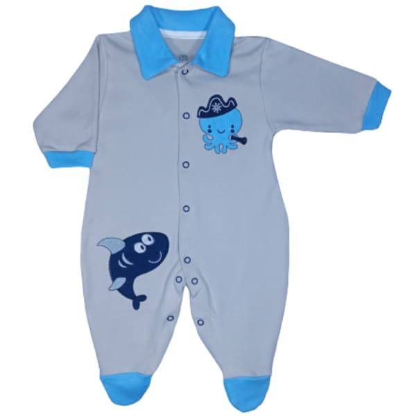 Macacão para Bebê com Gola Polo Bordado Tubarão Azul Claro com Bege