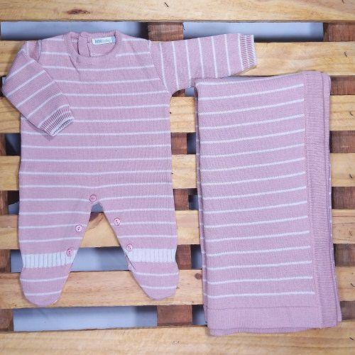 Saída Maternidade em Tricot para Bebê Menina Nude Listadinho