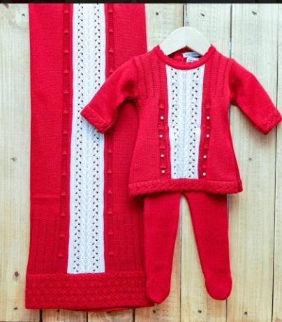 Saída Maternidade para Bebê em Tricô Vestido com  Meia  Calça Vermelho
