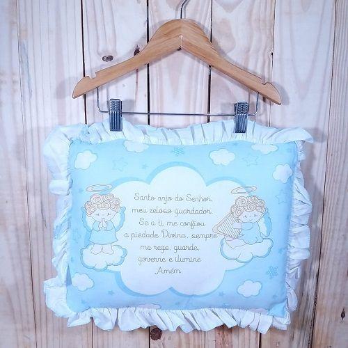 Travesseiro para Bebê Anjinho da Guarda Azul Claro