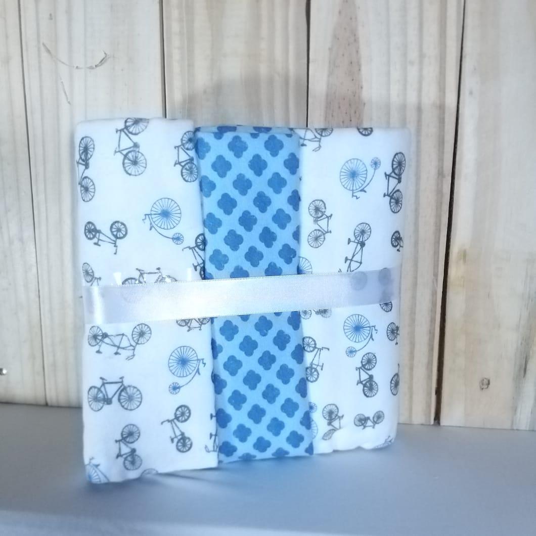 Cueiro Flanela para Bebê com 3 Peças