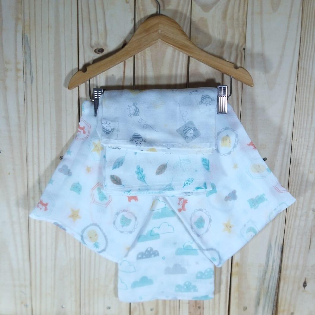 Fralda de Tecido Duplo Estampado para Bebê Cinco Peças