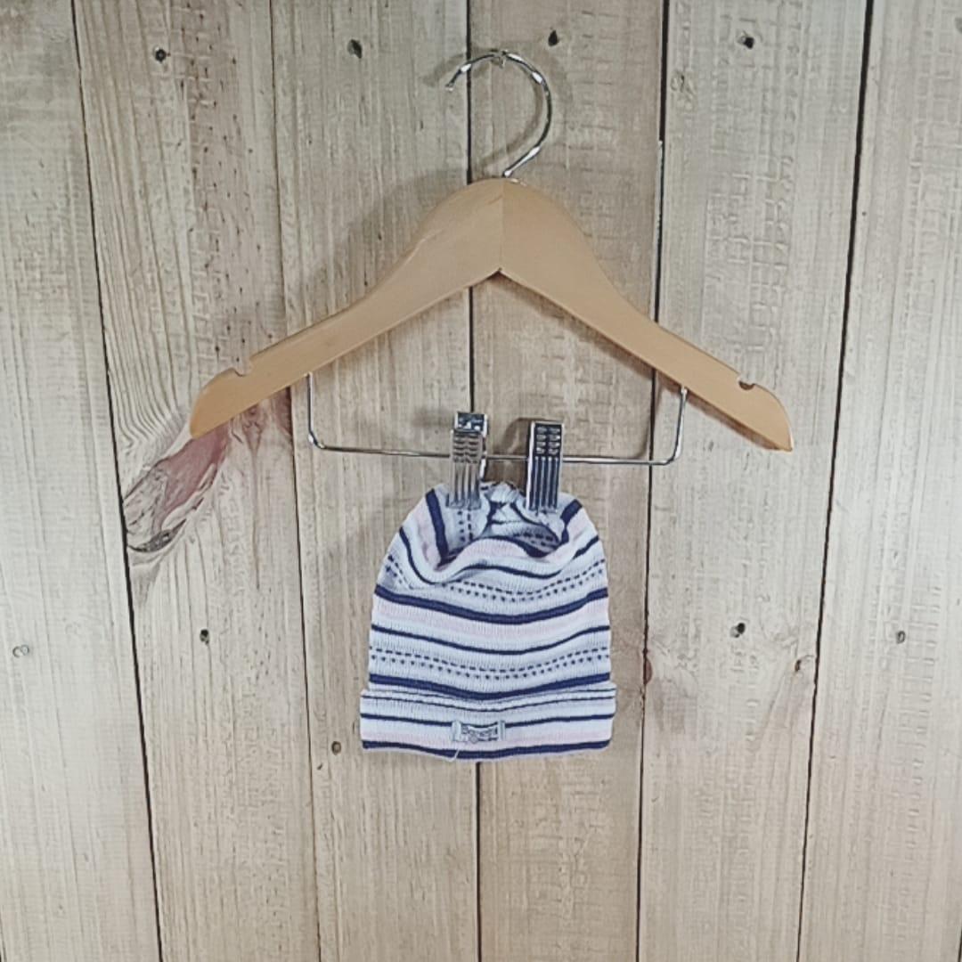 Gorro para Bebê em Tricot Listrado Rosa com Branco