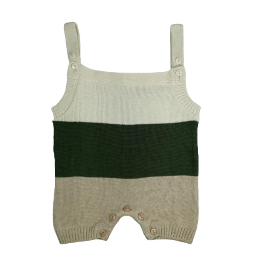 Jardineira para Bebê Curta em Tricot Listrada Bege Verde Militar Bege Escuro
