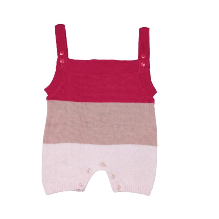 Jardineira para Bebê Curta em Tricot Listrada Pink Rosé Rosa