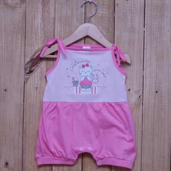 Jardineira para Bebê Curta Gatinha Rosa Claro