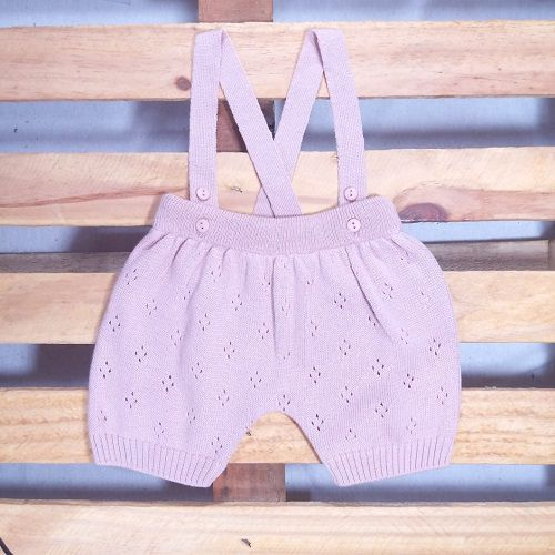 Jardineira para Bebê em tricot Body Diaper com detalhes